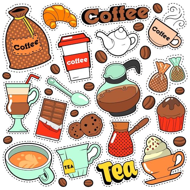 Koffie- en theebadges, patches, stickers voor prints en modetextiel met koffiebonen. doodle in komische stijl Premium Vector