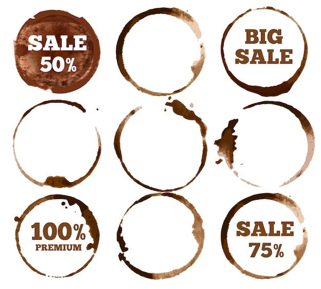 Koffie etiketten. aquarel vuile ring vlek logo. illustratie set Premium Vector