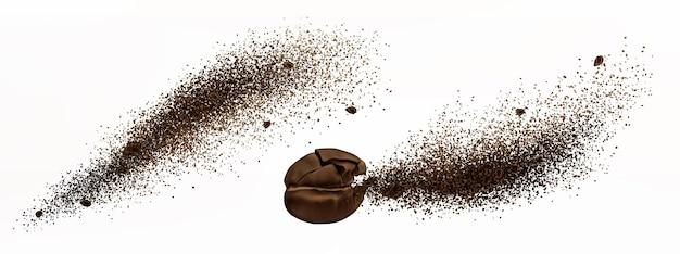 Koffie-explosie, realistische gebarsten bonen en gemalen poeder barsten met spatten van bruine deeltjes Gratis Vector