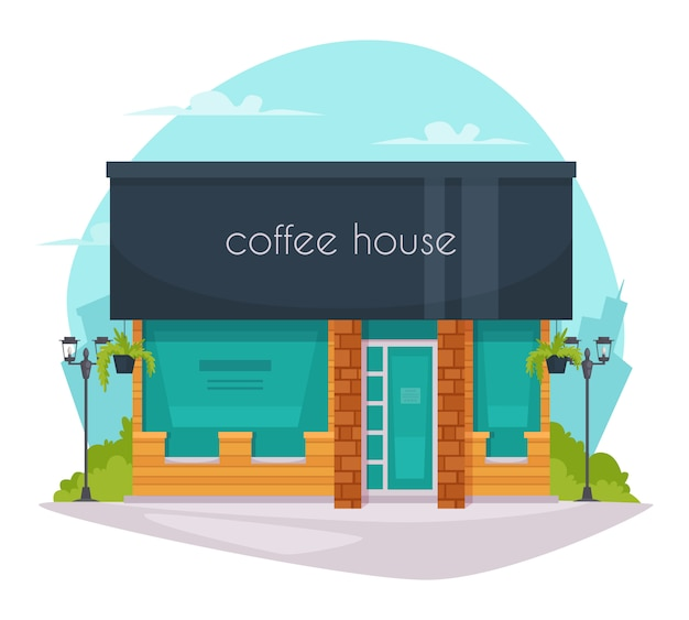 Koffie huis voorzijde platte pictogram Gratis Vector
