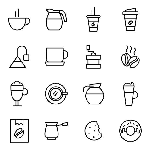 Koffie icon pack, overzicht pictogramstijl Premium Vector
