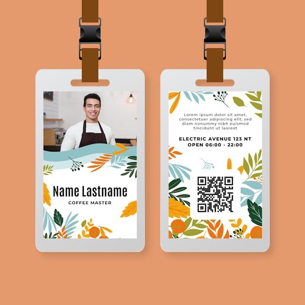 Koffie identiteitskaart sjabloon Gratis Vector