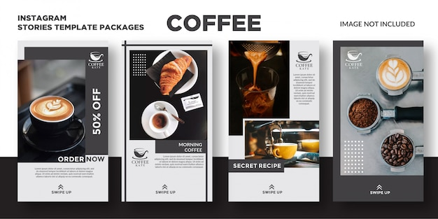 Koffie instagram verhalen sjabloon Premium Vector