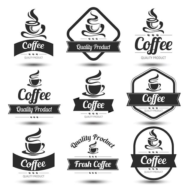 Koffie label Premium Vector