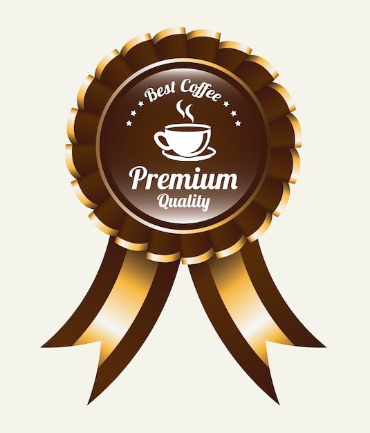 Koffie logo embleem met lint Premium Vector