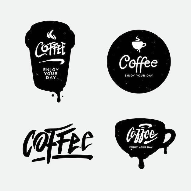 Koffie logo en typografie sjabloonontwerp Premium Vector