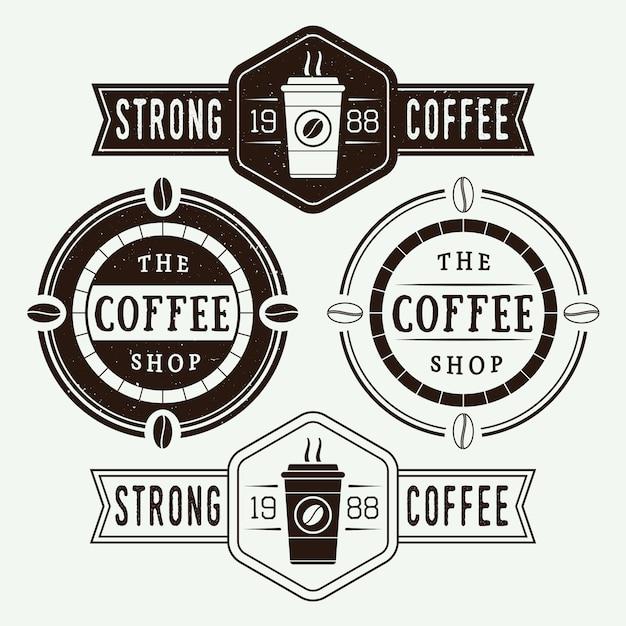 Koffie logo's, etiketten Premium Vector