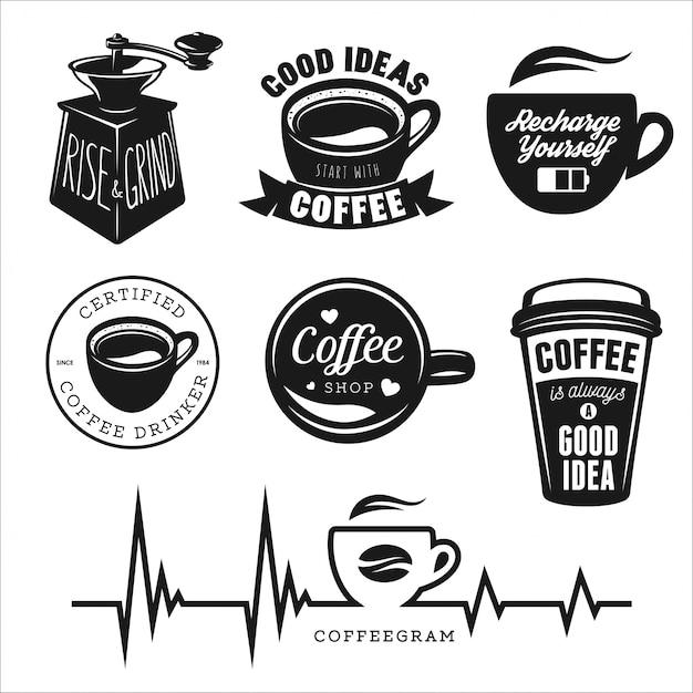 Koffie logo voor café-bar Premium Vector