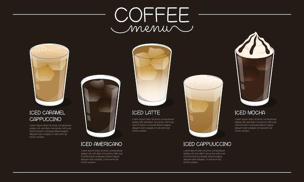 Koffie menu illustratie met verschillende soorten ijs koffie drinken op donkere achtergrond Premium Vector
