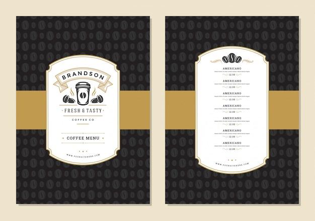 Koffie menu ontwerp sjabloon folder voor bar of café met offee winkel logo beker symbool. Premium Vector