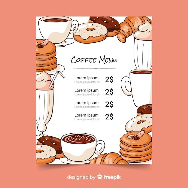 Koffie menusjabloon Gratis Vector