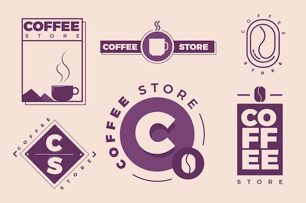 Koffie minimale logo-collectie in twee kleuren Gratis Vector