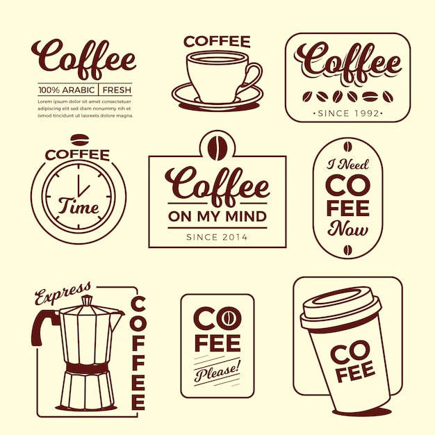 Koffie minimale logo element collectie Gratis Vector