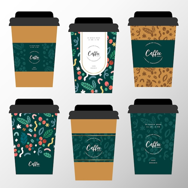 Koffie papieren beker design collectie Premium Vector
