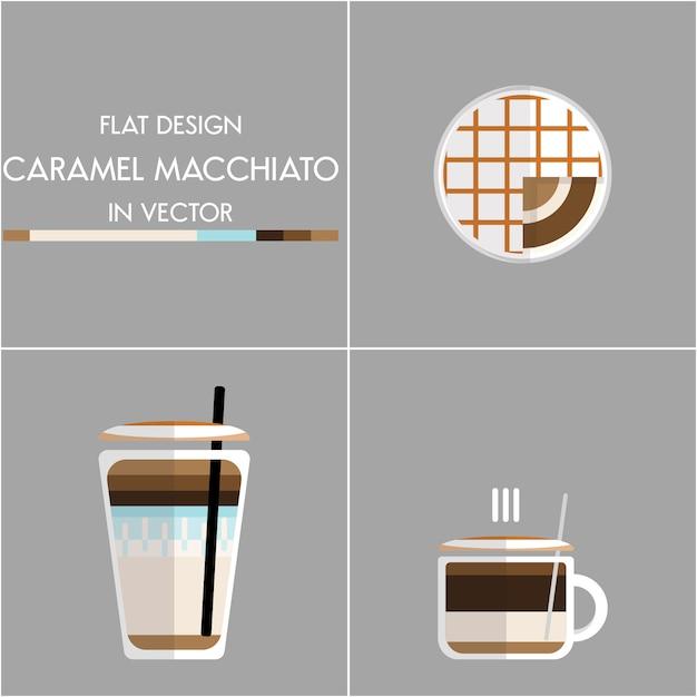 Koffie pictogram illustratie instellen Premium Vector