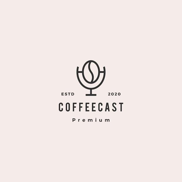 Koffie podcast logo hipster retro vintage pictogram voor koffie blog video review vlog kanaal radio-uitzending Premium Vector