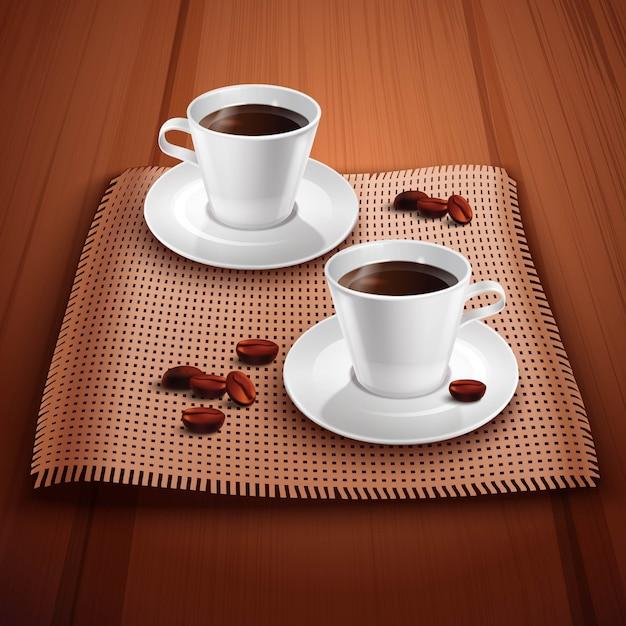 Koffie realistische achtergrond met twee porseleinen kopjes op houten tafel Gratis Vector