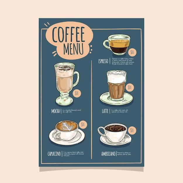 Koffie restaurant menu sjabloonontwerp Gratis Vector