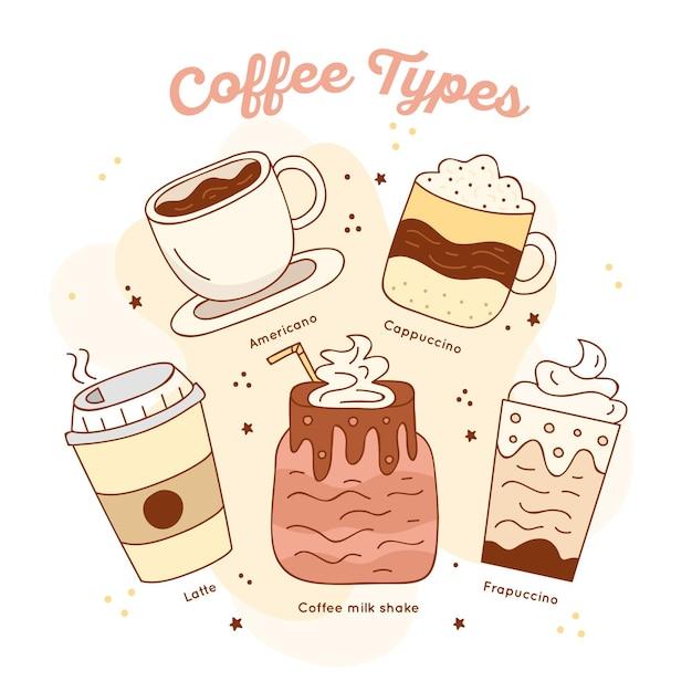 Koffie soorten illustratie collectie Gratis Vector