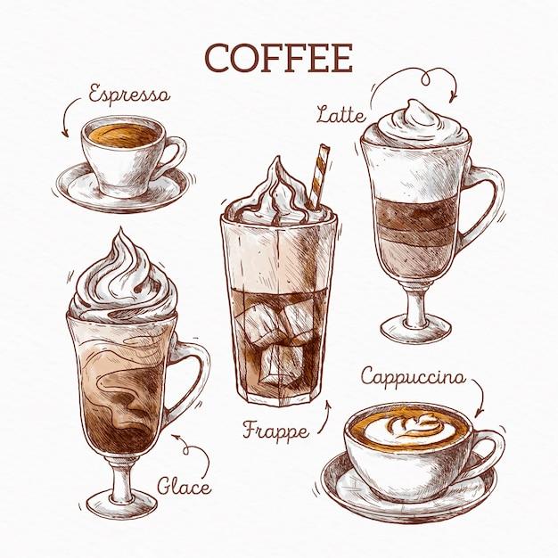 Koffie soorten illustratie concept Gratis Vector