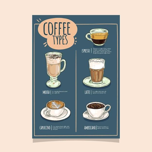 Koffie soorten poster sjabloonontwerp Gratis Vector