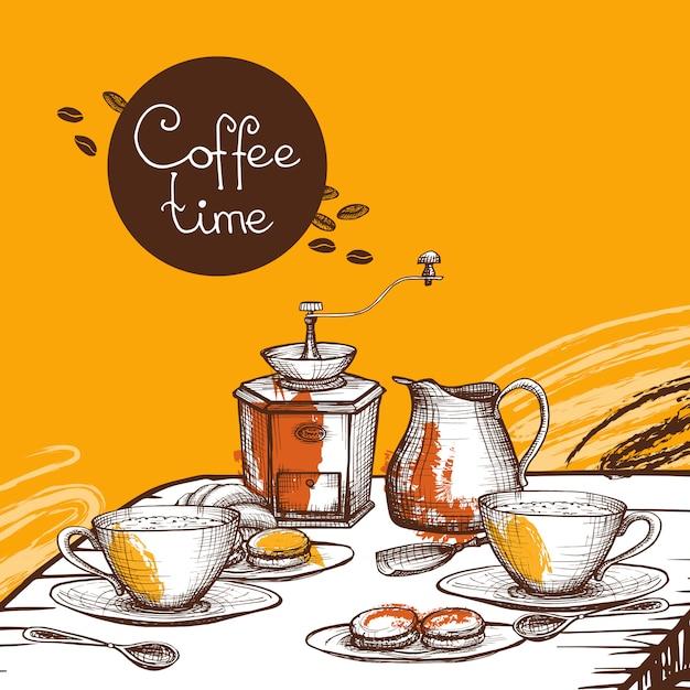 Koffie tijd achtergrond poster Gratis Vector