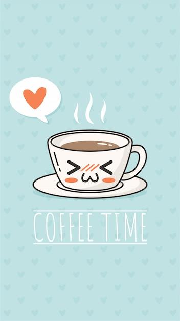 Koffie tijd kawaii Premium Vector