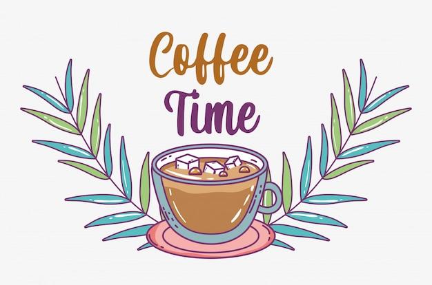 Koffie tijd schets plat Premium Vector