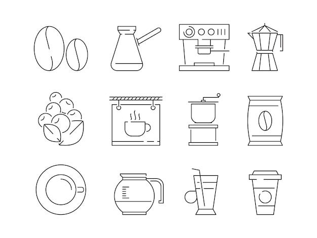 Koffie tijdpictogram. thee en warme dranken mokken bewerken machine machine ierse koffie vector lineaire dunne symbolen Premium Vector