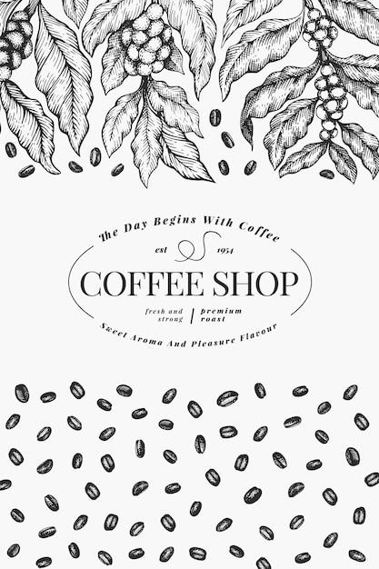 Koffie vector ontwerpsjabloon. vintage koffie poster. hand getekend gegraveerde stijl illustratie. Premium Vector