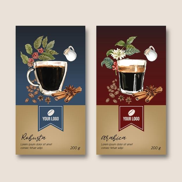 Koffie verpakking zak met boon bladeren bean, americano, aquarel illustratie Gratis Vector