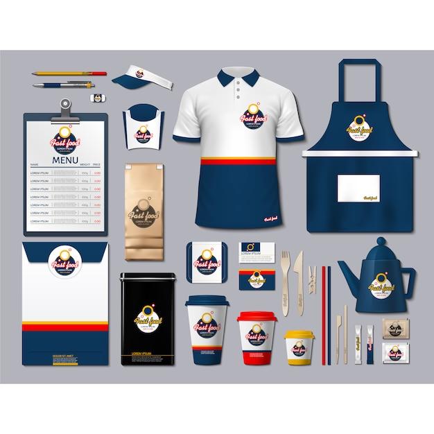 Koffie winkel briefpapier met donkerblauw ontwerp Gratis Vector