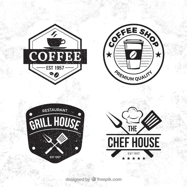 Koffie winkel label collectie met vintage stijl Gratis Vector