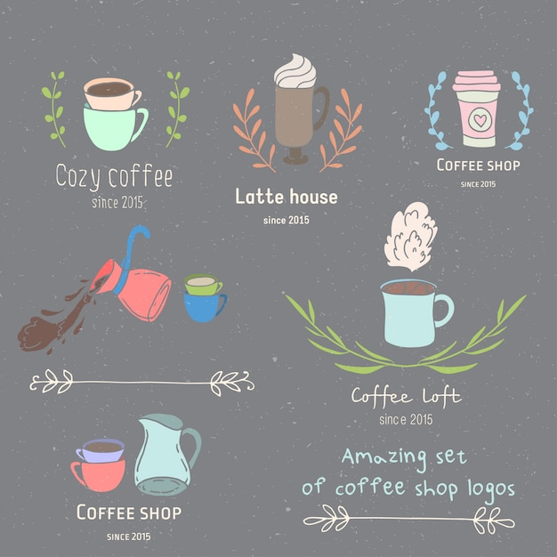 Koffie winkel logo set Premium Vector