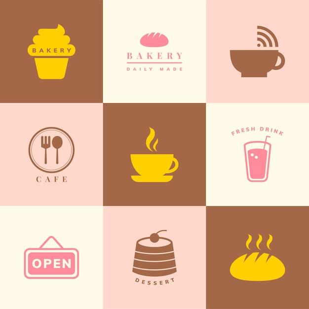 Koffie winkel pictogram vector set Gratis Vector