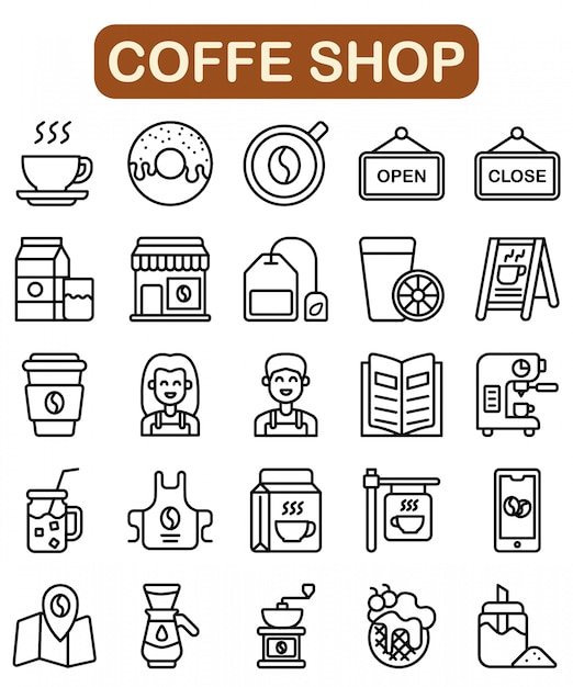 Koffie winkel pictogrammen instellen, overzicht stijl Premium Vector