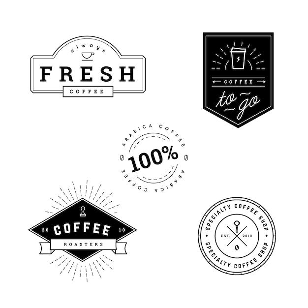 Koffie zwarte etiketten Gratis Vector