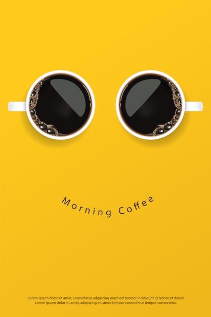 Koffieaffiche advertentie flayers illustratie Premium Vector