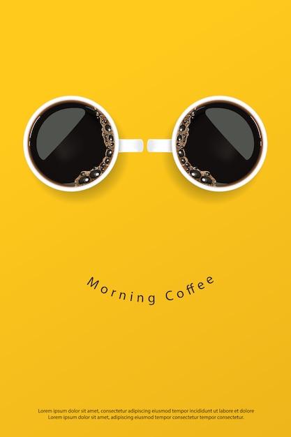 Koffieaffiche advertentie flayers vector illustration Premium Vector