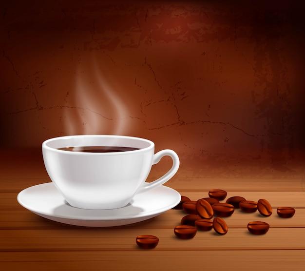 Koffieaffiche met realistische witte porseleinkop op geweven achtergrond Gratis Vector