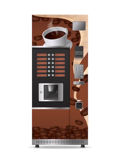 Koffieautomaat realistisch pictogram met elektronisch bedieningspaneel en geïsoleerde optieknop Gratis Vector