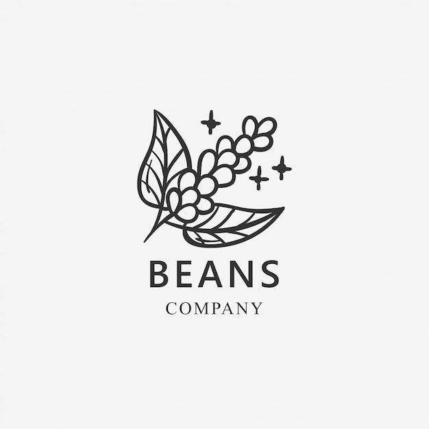 Koffiebonen logo sjabloon Premium Vector