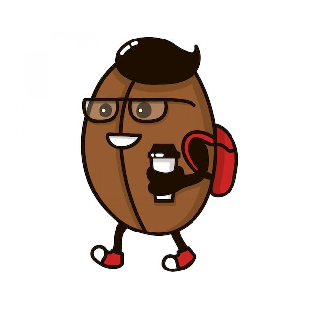 Koffieboonkarakter met koffiedocument kop het lopen. logo sjabloon, badge voor koffie straat winkel Premium Vector