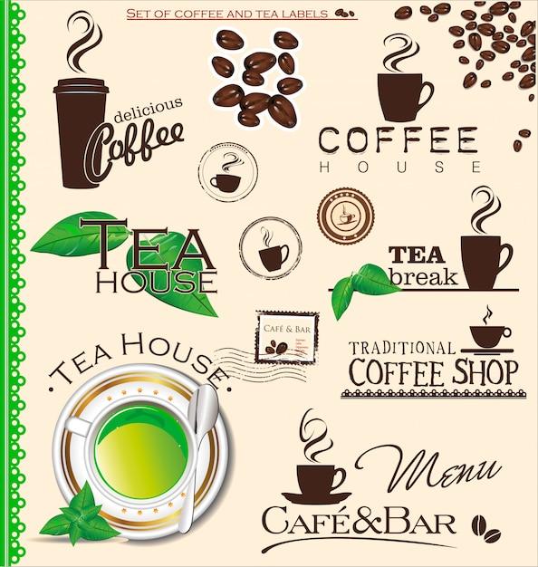 Koffieetiket Premium Vector