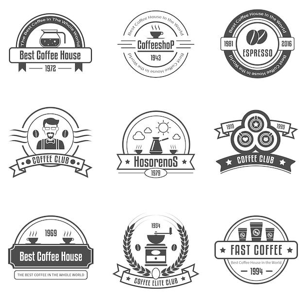 Koffiehuis emblemen set Gratis Vector