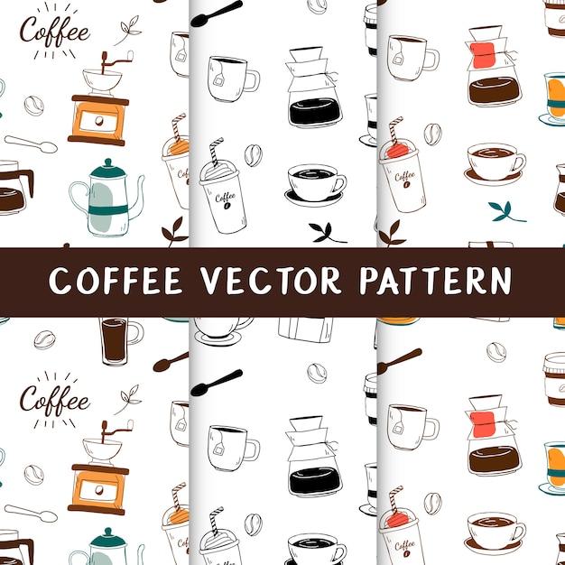 Koffiehuis en koffie naadloze achtergrond vector Gratis Vector