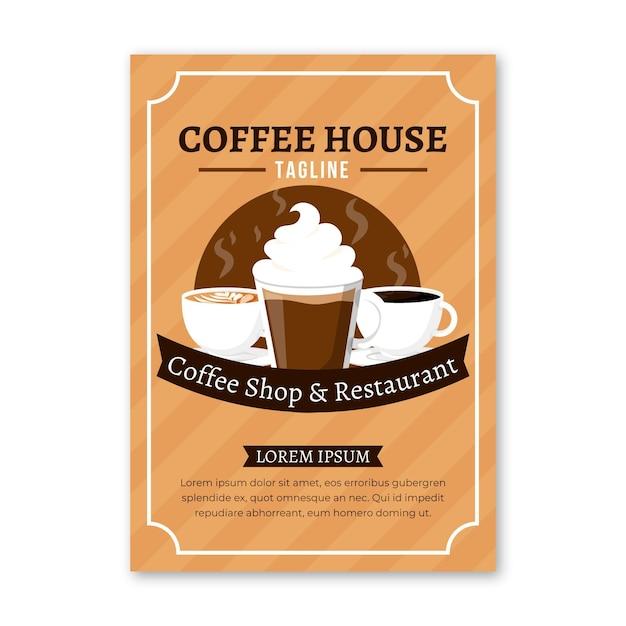 Koffiehuis folder sjabloon Gratis Vector