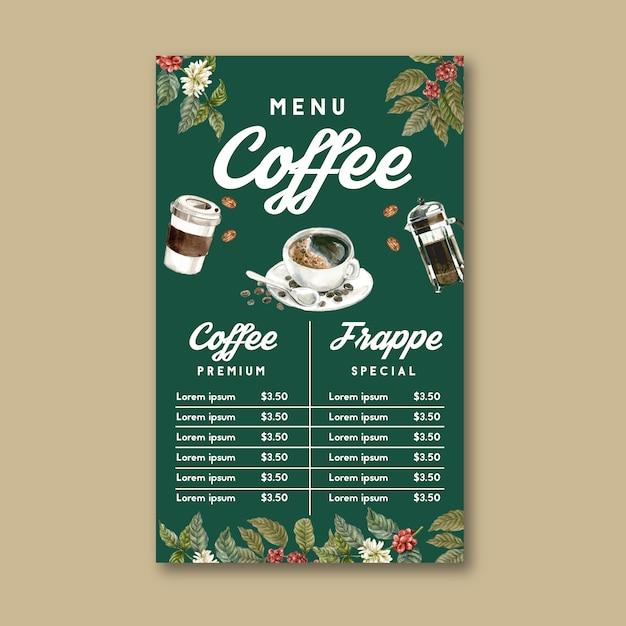Koffiehuis menu americano, cappuccino, espresso menu, infographic, aquarel illustratie Gratis Vector