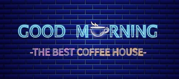 Koffiehuis neonreclame Premium Vector