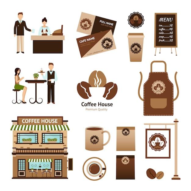 Koffiehuis set Gratis Vector